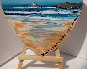 Godrevy Lighthouse love heart painting, the beach is not a bin. By Cornish Artist Lindsey Keates
