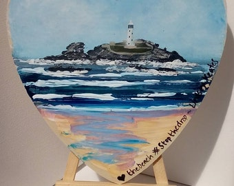 Godrevy Lighthouse love heart painting by Cornish Artist Lindsey Keates