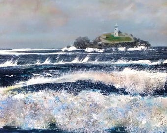 High Winds, Godrevy Lighthouse, Cornwall Print by Cornish Artist Lindsey Keates
