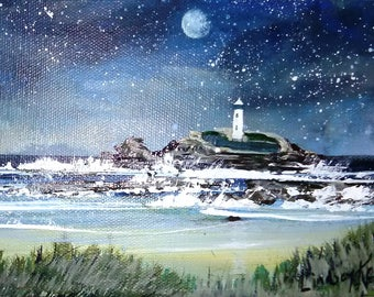 Night Sky, Godrevy Lighthouse, Cornwall Print by Cornish Artist Lindsey Keates