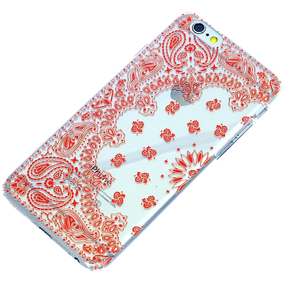 premium selection 51033 e85f3 Red Bandana Paisley Transparent Clear Phone Case iPhone 6, 7, SE, 6 Plus, 7  Plus, 6S, 5, 5C, 5S, Galaxy S6, S7, Note 5, Note 7