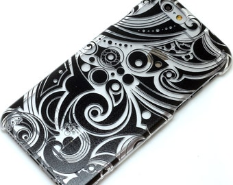 Black Groovy Henna Style Transparent Clear Phone Case iPhone 6, 7, SE, 6 Plus, 7 Plus, 6S, 5, 5C, 5S, Galaxy S6, S7, Note 5, Note 7