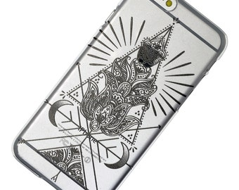 Mandala Triangle Crescent Moon Transparent Clear Phone Case iPhone 6, 7, SE, 6 Plus, 7 Plus, 6S, 5, 5C, 5S, Galaxy S6, S7, Note 5, Note 7