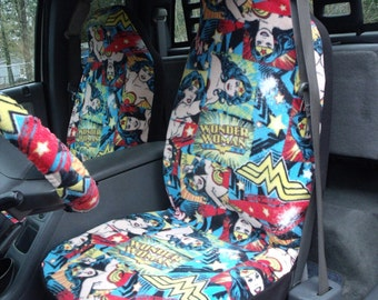 1 Set Of DC Wonder Woman Print Car Seat Covers And Steeling Wheel Cover Custom Made