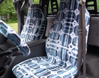1 Set Of Tie Dye Blue Print Seat Covers And Steering Wheel Cover Custom Made