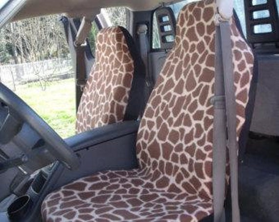 Surprising A Set Of Brown Giraffe Print Seat Covers And Steering Wheel Cover Custom Made Short Links Chair Design For Home Short Linksinfo