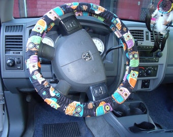 Midnight Owls Print, Steering Wheel Cover Custom Made