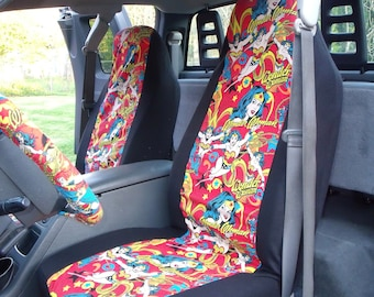 1 Set of Orange Wonder Woman  Print Seat Covers and  Steering Wheel Cover Custom Made.
