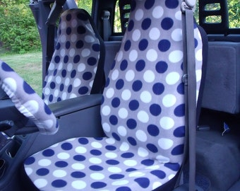 On Sale, 1 Set of Navy Blue/White Dots Print and Steering Wheel Cover Custom Made.