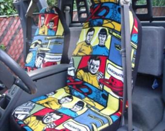 1 Set of Star Trek Blue Print,  Car Seat Covers, and steeling wheel cover custom made.