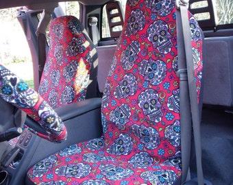 1 Set of Skulls Da De Muertos Red Print Seat Cover and  Steering Wheel Cover Custom Made.