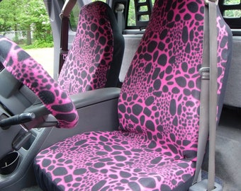 1 Set of Black/Pink Leopard Print and Steering Wheel Cover Custom Made.