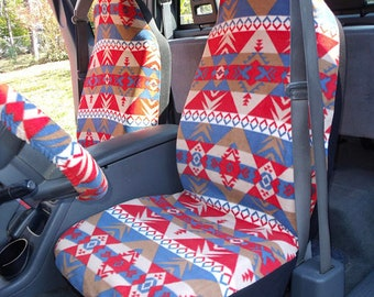 1 Set of  Aztec Indian Warrior Red and Blue Indian Print, Seat Cover and Steering Wheel Cover custom made.