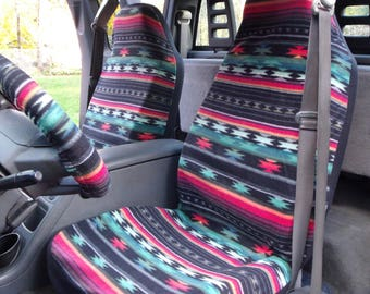 1 Set of Aztec Wine Mos Print Seat Covers and the  Steering Wheel Cover  Custom Made.