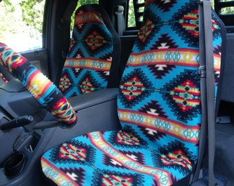 1 Set of Blanket Stripe Turquoise Print and Steering Wheel Cover Custom Made.