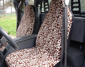 1 Set of Giraffe Print  Car Seat Covers and steeling wheel cover custom made.