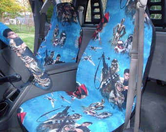 1 Set of Star War The Force Awaken Print, Seat Cover and  Steering Wheel Cover Custom Made.