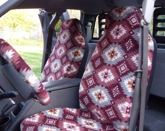 1 Set of Southwest Maroon Print,  seat cover and steering wheel cover. Custom make.