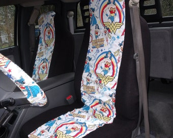 1 Set of Wonder Woman  Print Seat Covers and  Steering Wheel Cover Custom Made.