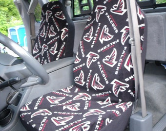 1 Set of NFL Atlanta Falcons Print seat covers custom made. (No Steeling Wheel Cover)