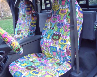 1 Set of Cute Owl Print, Seat Covers and the  Steering Wheel Cover  Custom Made.