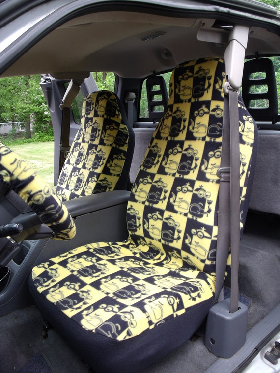 1 Set Of Minion Print Seat Covers And Steering Wheel Cover