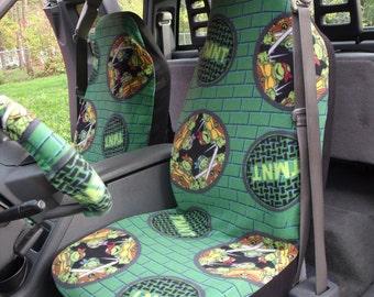 1 Set of  Nickelodeon Teenage Mutant Ninja Turtles Badge Print , Seat Cover and Steering Wheel Cover Custom Made.
