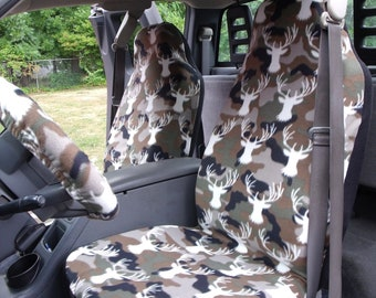 1 Set Of Came Deer Head Print Seat Covers And Steering Wheel Cover Custom Made