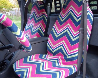 1 Set of Muilt Color Chevron Print, Seat Cover and  Steering Wheel Cover Custom Made.