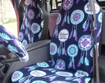 1 Set of Dream catcher Print, Seat Cover and Steering Wheel Cover Custom Made.