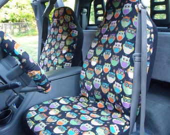 1 Set of Midnight Owls Print, Seat Covers and Steering Wheel Cover Custom Made