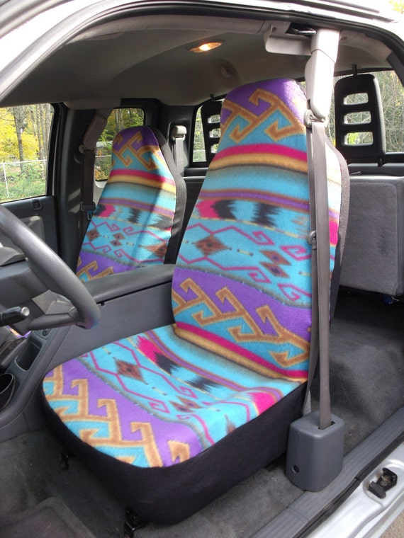 1 Set Of Seat Cover And Steering Wheel Purple Turquoise