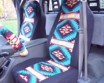1 Set of Tribal Print, Seat Cover and  Steering Wheel Cover Custom Made.