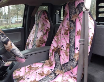 1 Set Of Pink Mossy Oak Real Tree Print Seat Covers and  Steeling Wheel Cover Custom made.