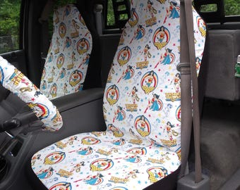 1 Set of DC Wonder Woman Print, Seat Covers and steering wheel cover  Custom Made