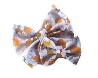 Daisy Bow | Fabric Bow | Handmade Hair Bow | Hair Clip | Headband