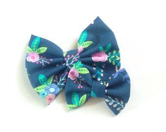 Navy Floral Bow   Fabric Bow   Handmade Hair Bow   Hair Clip   Headband