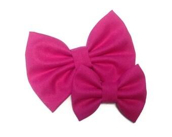 Bright Pink Bow | Fabric Bow | Handmade Hair Bow | Hair Clip | Headband