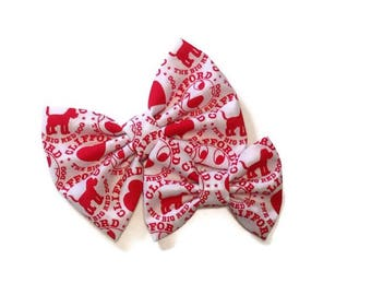 Clifford the Big Red Dog Bow   Fabric Bow   Handmade Hair Bow   Hair Clip   Headband