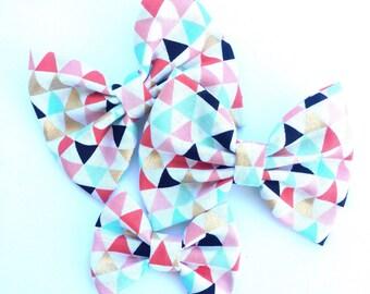 Mint Coral Gold Triangle Handmade Fabric Hair Clip or Headband Bows