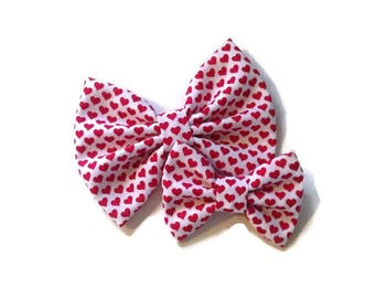 Red Heart Valentine's Bow   Fabric Bow   Handmade Hair Bow   Hair Clip   Headband