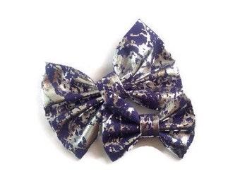 Silver Foil Navy Bow   Fabric Bow   Handmade Hair Bow   Hair Clip   Headband