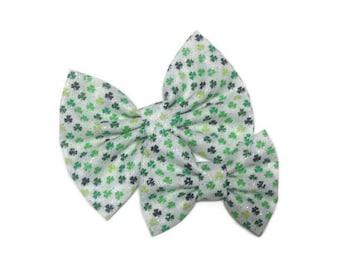 Glitter St. Patrick's Day Bow   Fabric Bow   Handmade Hair Bow   Hair Clip   Headband
