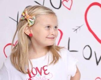 Candy Hearts Valentine's Day Bow | Fabric Bow | Handmade Hair Bow | Hair Clip | Headband