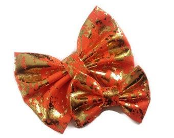 Gold Foil Orange Bow   Fabric Bow   Handmade Hair Bow   Hair Clip   Headband