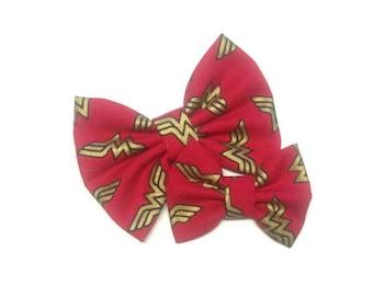 Wonder Woman Bow   Fabric Bow   Handmade Hair Bow   Hair Clip   Headband