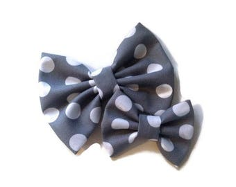 Gray with White Polka Dots Bow   Fabric Bow   Handmade Hair Bow   Hair Clip   Headband