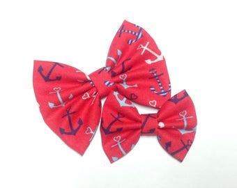 Anchor Bow | Handmade Fabric Hair Clip or Headband Bows