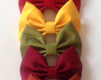 Fall Solid Color Bow   Fabric Bow   Handmade Hair Bow   Hair Clip   Headband