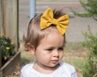 Mustard Bow | Fall Bow | Pumpkin Bow | Handmade Fabric Hair Clip | Headband Bows